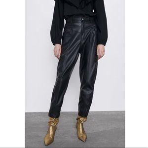 Zara 80s' Corsy Faux Leather Pants High Waisted 8